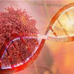 Célula de câncer ao lado de filamento de DNA.
