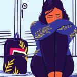 Ilustração de menina adolescente triste sentada no chão.